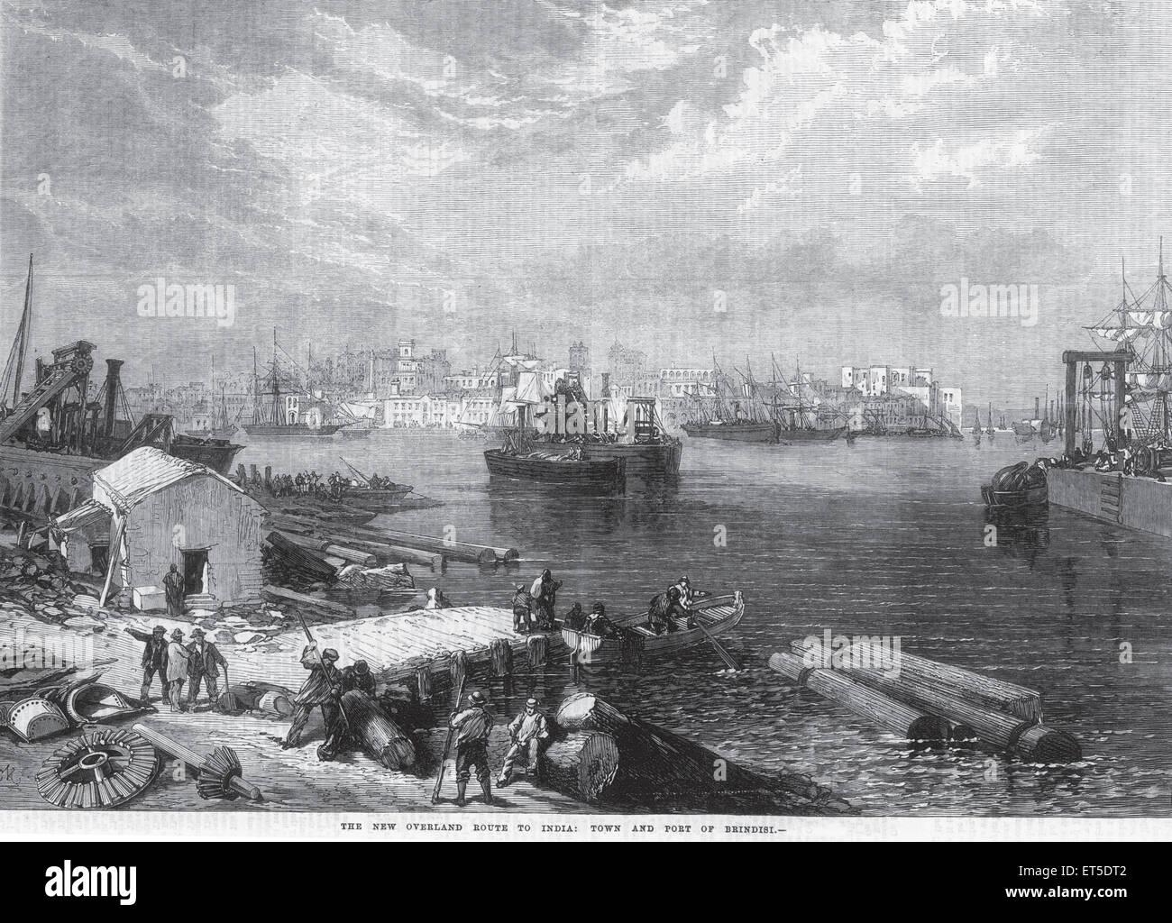 Viaggi e trasporti nuova via di terra in India città e porto di Brindisi ; India Immagini Stock