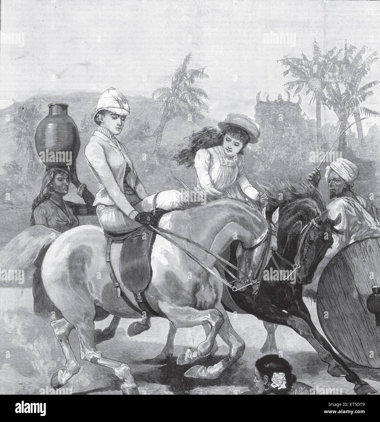 Viaggi e trasporti anglo-indiana la vita giro mattina ; India Immagini Stock