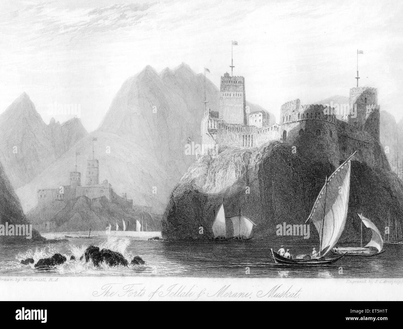 Forti di jellali o Merane Muskat marino ; Muscat Oman Immagini Stock