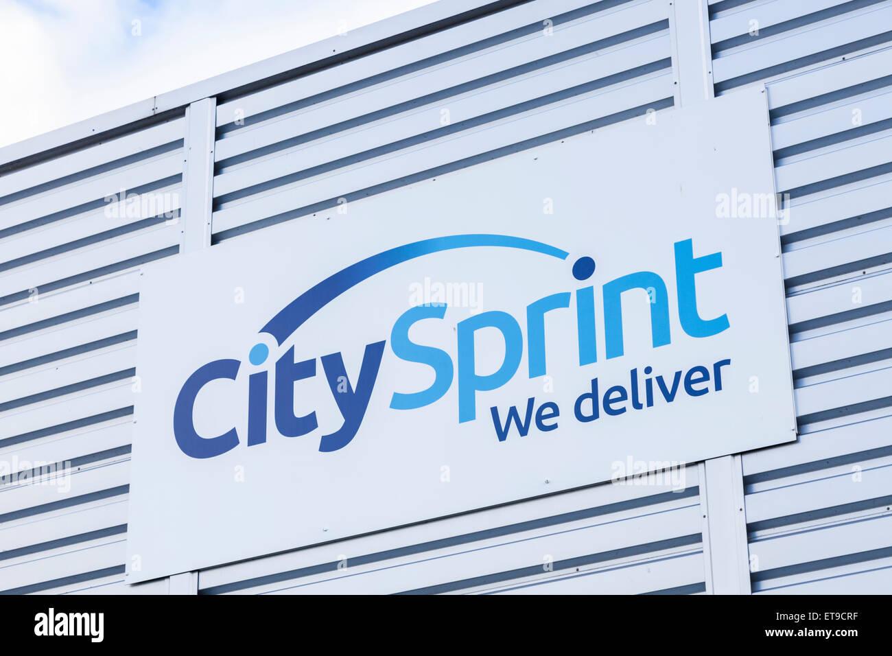 Città segno Sprint, England, Regno Unito Immagini Stock