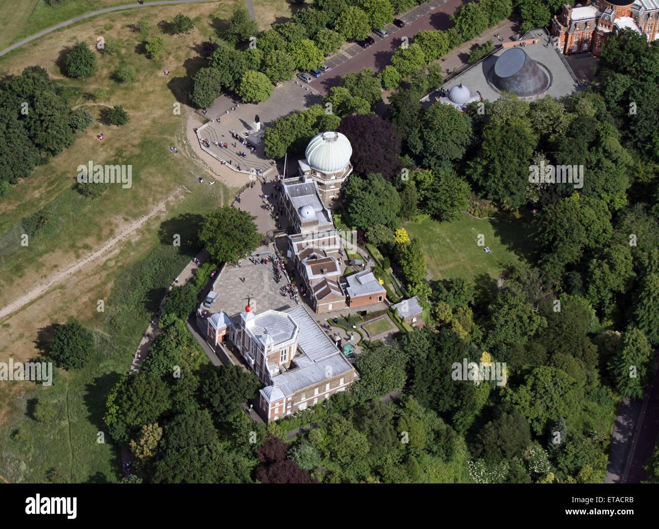 Vista aerea del Royal Observatory, Peter Harrison Planetarium & GMT Meridiano di Greenwich Park, London, Regno Immagini Stock