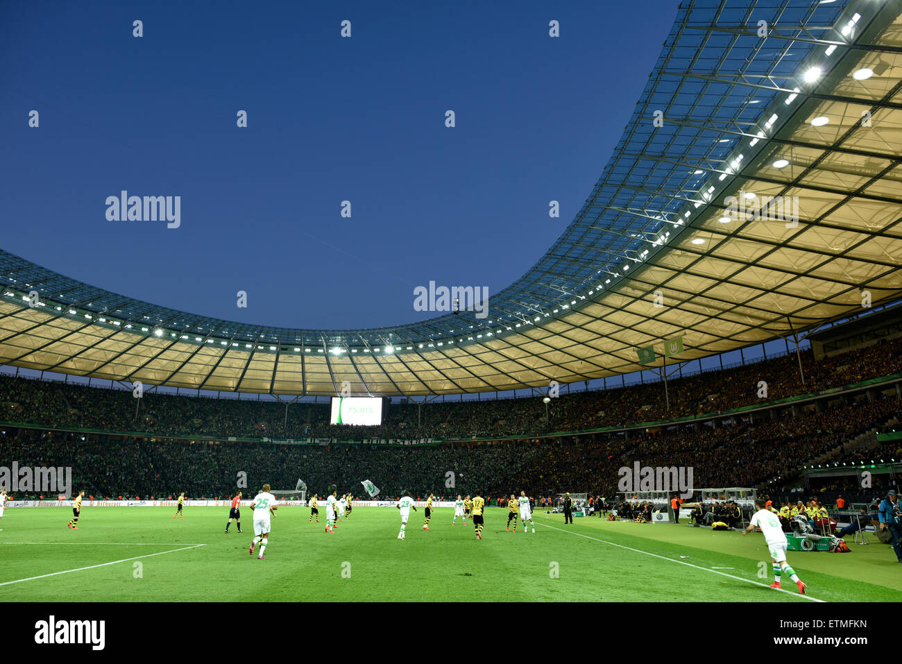 DFB Cup Final 2015, Stadio Olimpico di sera, Berlino, Germania Immagini Stock