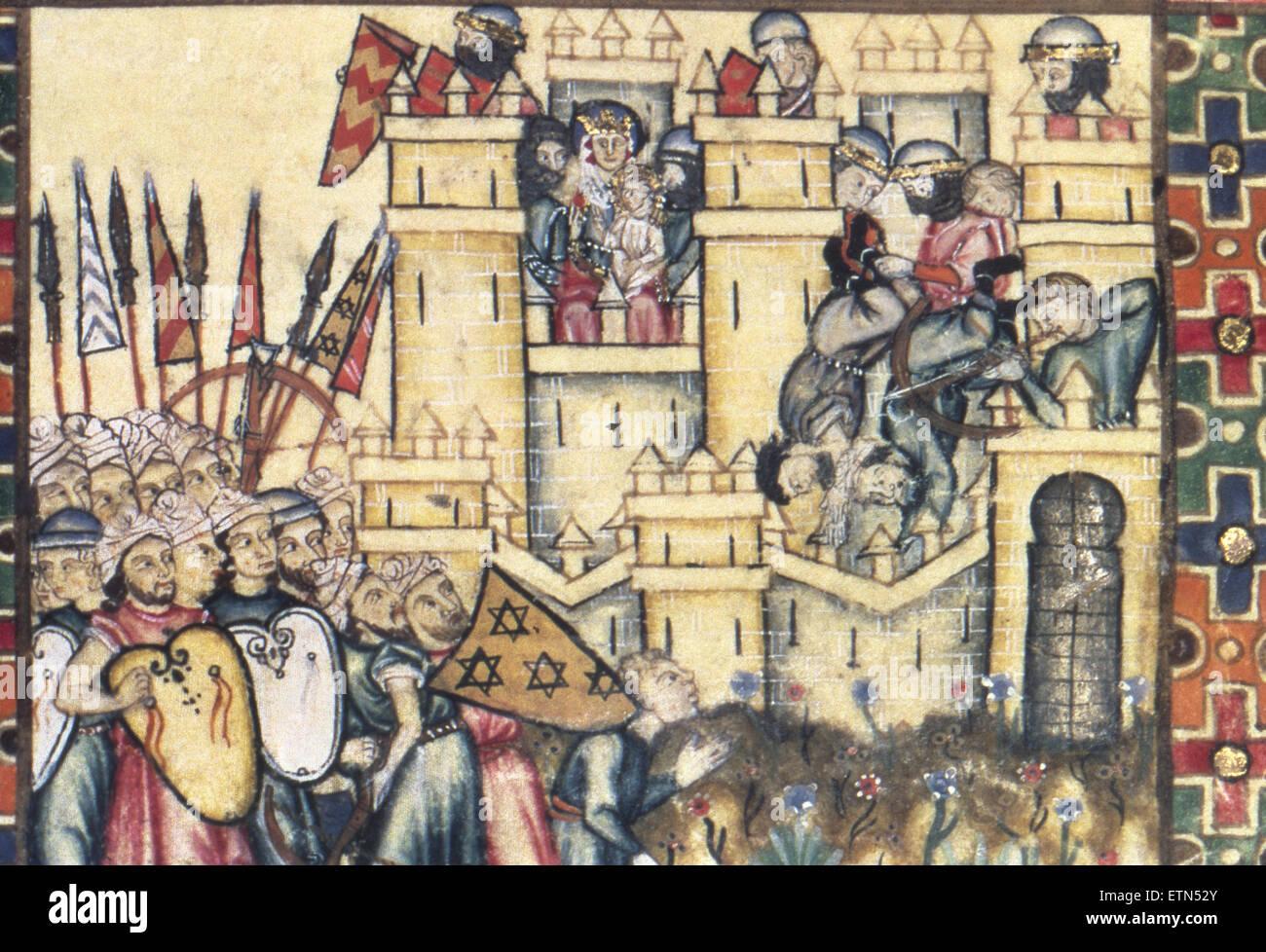 I cantici di Maria Santissima . Regno di Alfonso X. del XIII secolo. Miniatura. Dettaglio. Riconquista spagnola. Immagini Stock