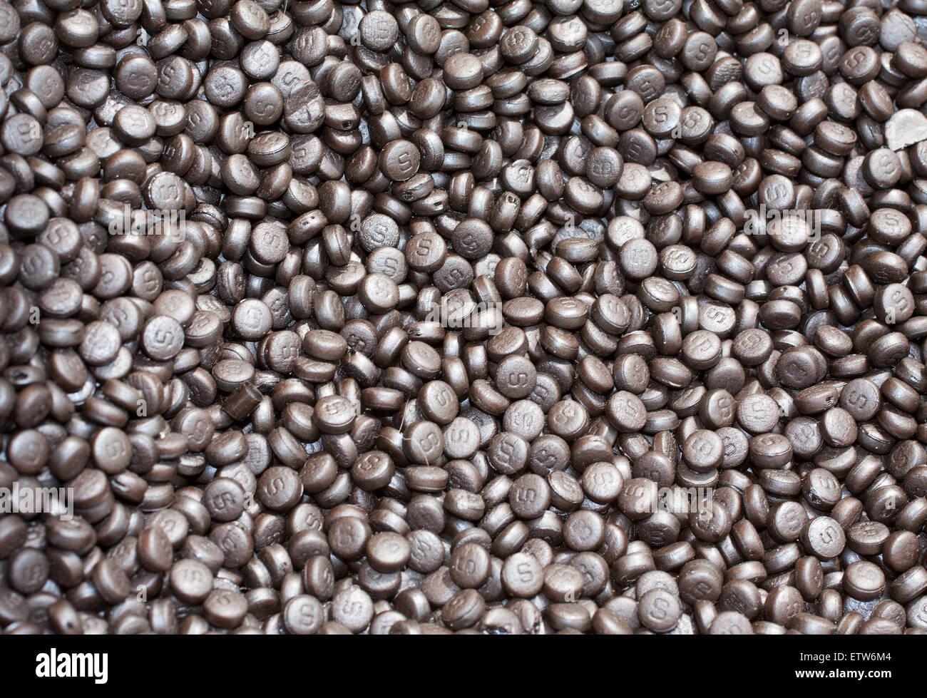 Candy pf liquirizia purissima, tipicamente italiana essenza della regione Calabria Immagini Stock