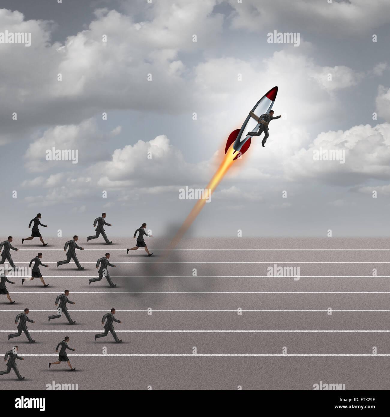 Concetto di motivazione e di colpo di carriera come un gruppo di persone di affari in esecuzione su una pista con Immagini Stock