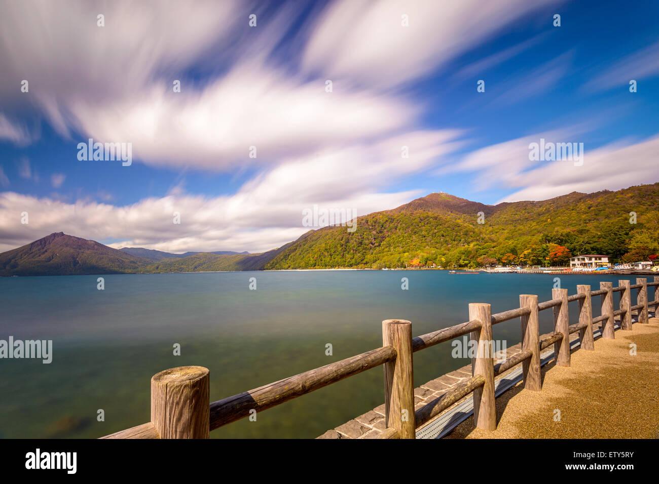 Shikotsu-Toya National Park, il Giappone sul Lago di Shikotsu. Immagini Stock