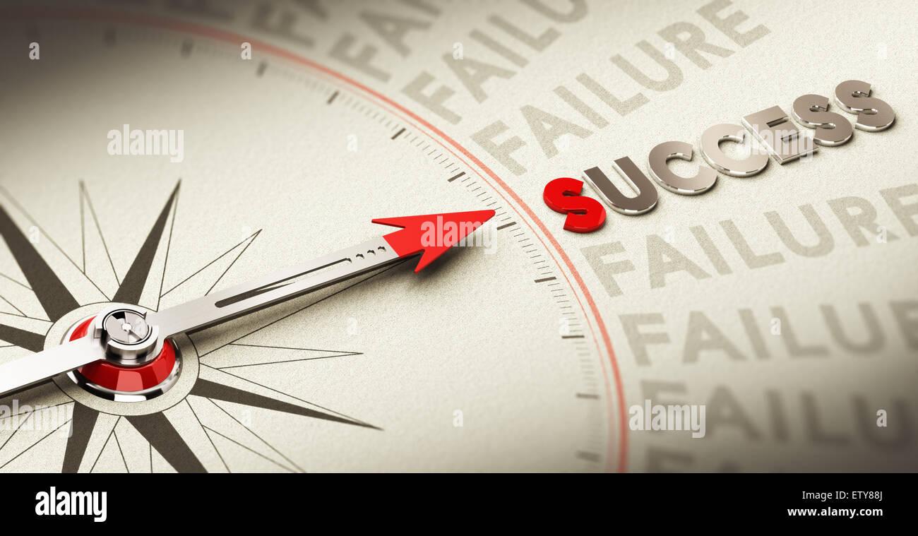Bussola rivolta la parola successo realizzato in materiale magnetico su vecchia carta, concetto di motivazione scopo Immagini Stock