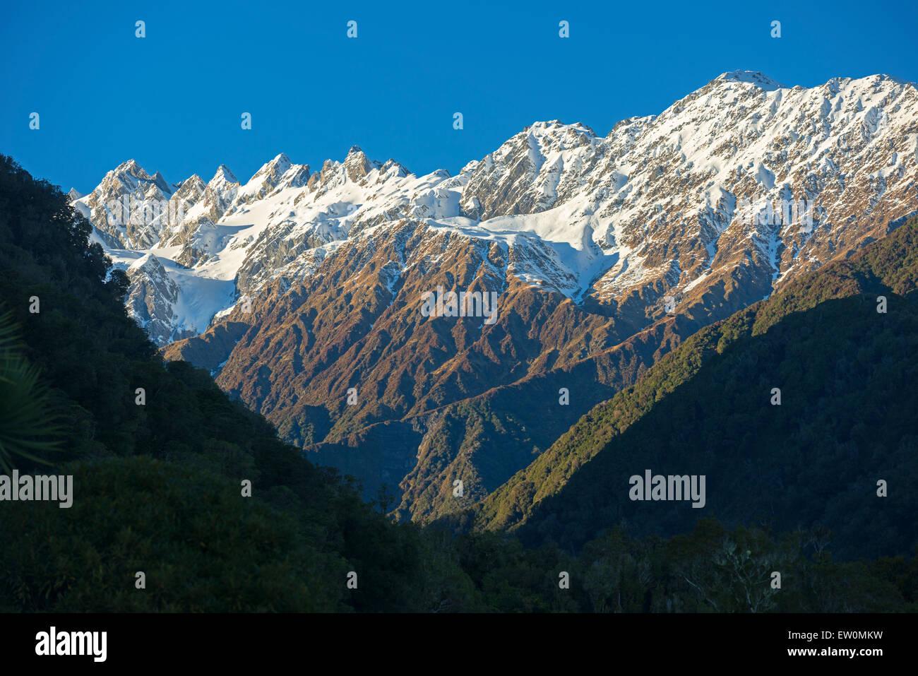La gamma della montagna, Franz Joseph Glacier, Mt Cook National Park, Isola del Sud, Nuova Zelanda Immagini Stock