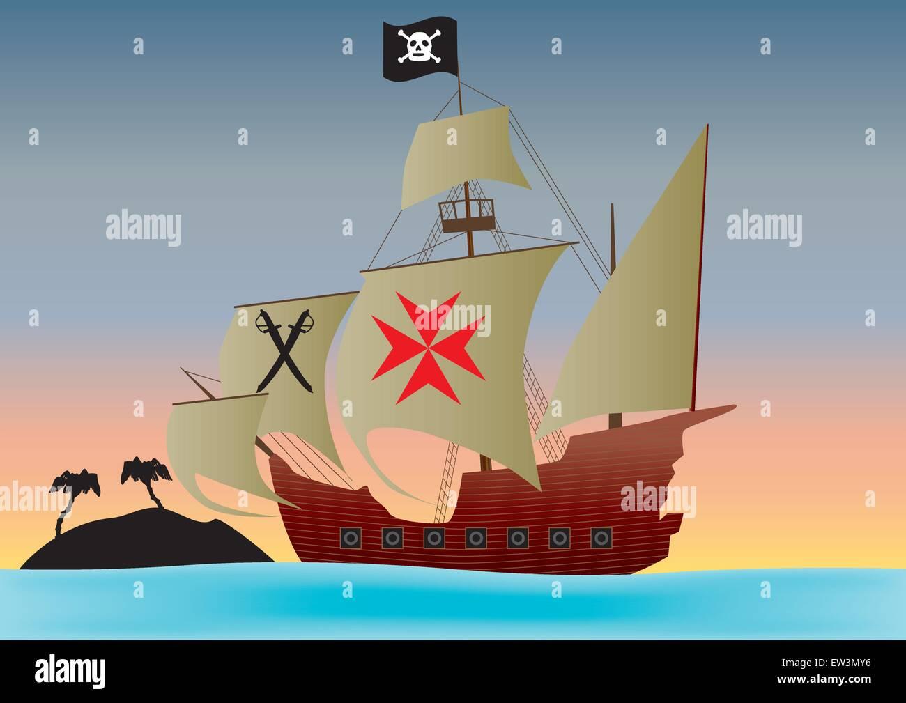 Una nave pirata passato in barca a vela un isola deserta al