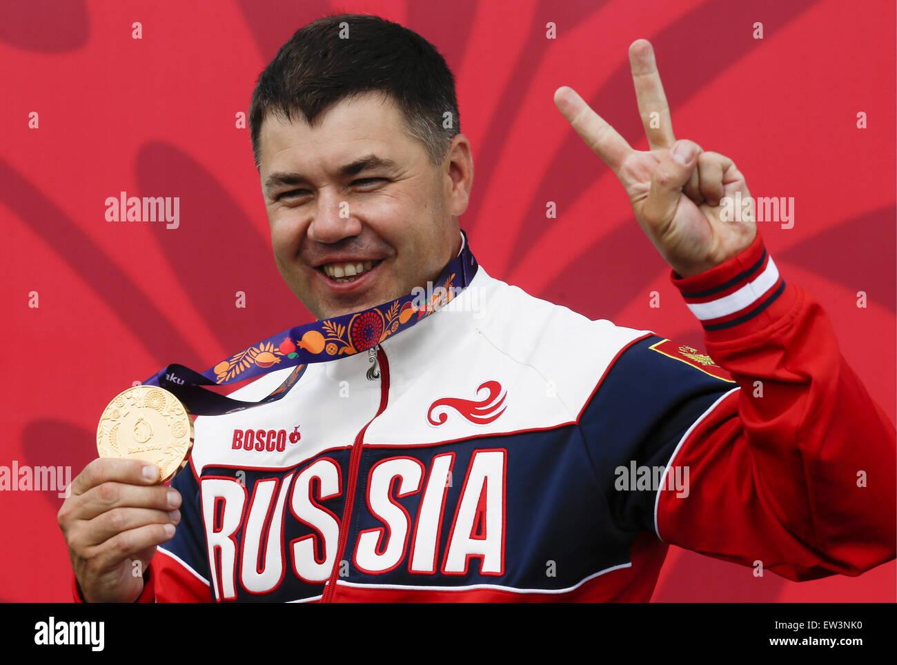 Baku in Azerbaijan. 17 Giugno, 2015. Medaglia d'oro della Russia Alexey Alipov durante una cerimonia di premiazione Immagini Stock