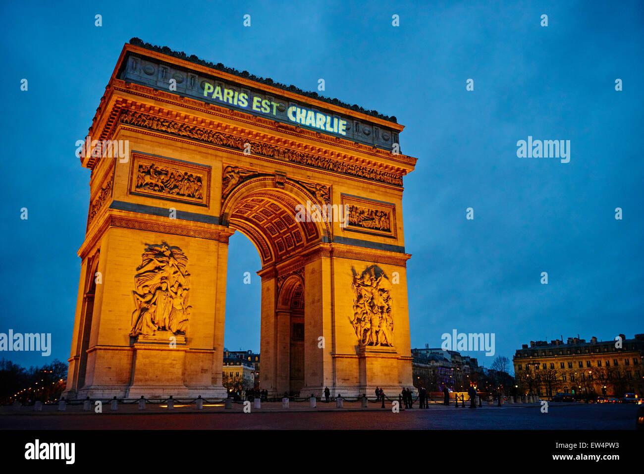 Francia, Parigi, 11 gennaio 2015 Parigi è Charlie, per Charlie Hebdo, Arc de Triomphe Immagini Stock