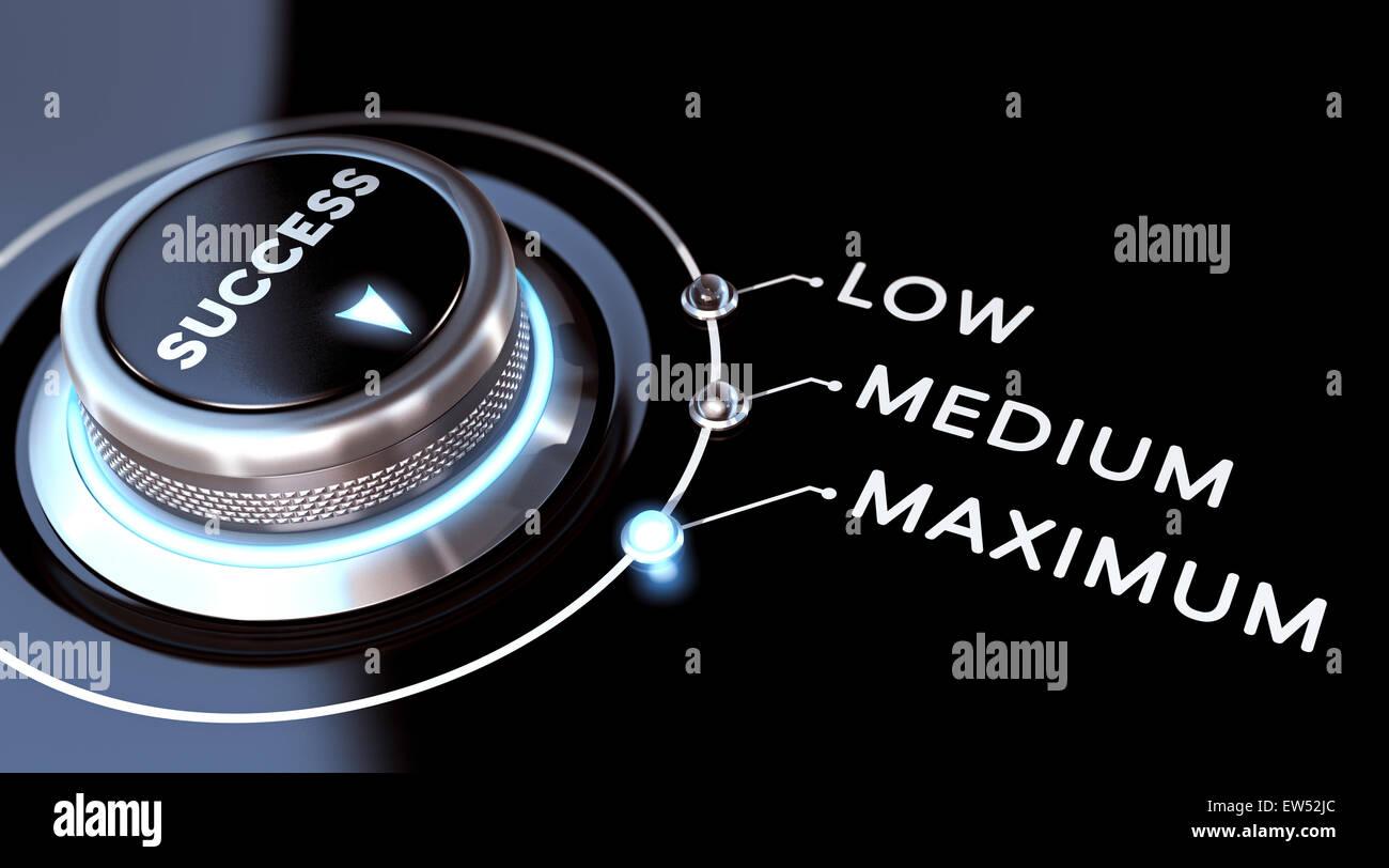 Il successo di immagine o concetto di successo. L'interruttore posizionato sul massimo. Sfondo nero e luci blu. Immagini Stock