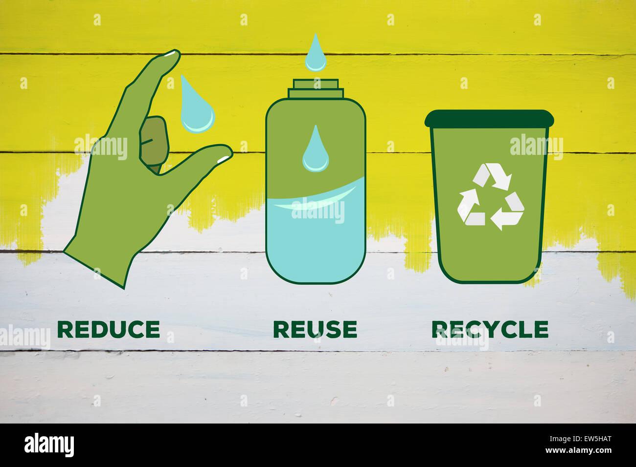 Immagine composita di ridurre riutilizzare riciclare Immagini Stock