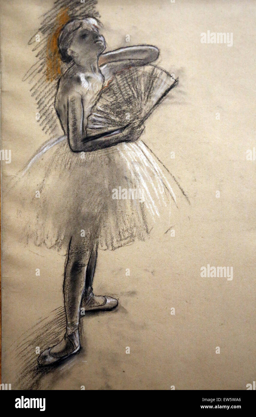 Edgar Degas (1834-1917). Pittore Francese. Ballerina con un ventilatore. 1880. Pastello su grigio-verde di cui la Immagini Stock