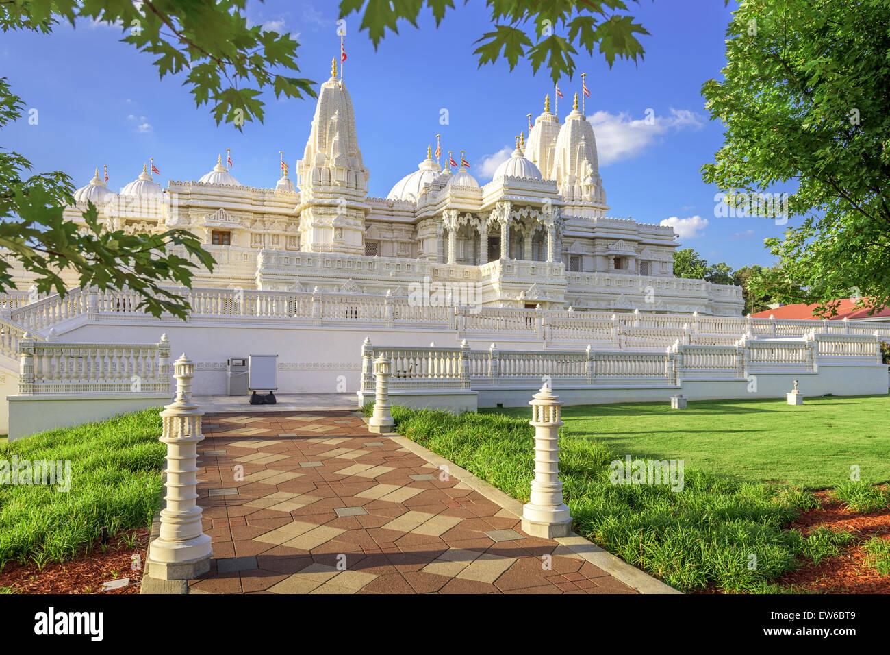BAPS Shri Swaminarayan Mandir Hindu Temple di Atlanta, Georgia, Stati Uniti d'America. Immagini Stock