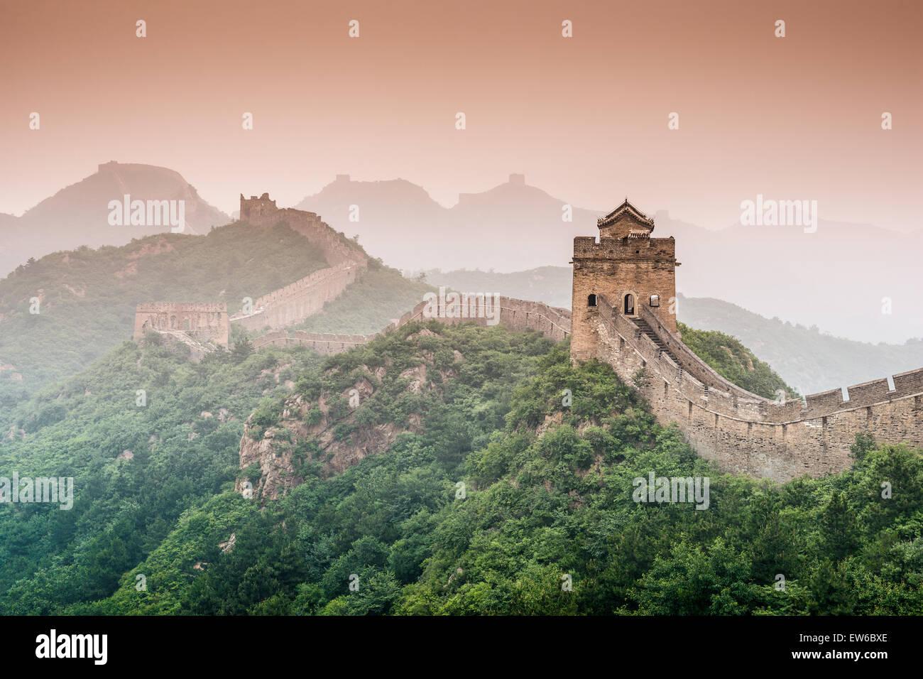 La Grande Muraglia della Cina presso la sezione Jinshanling. Immagini Stock
