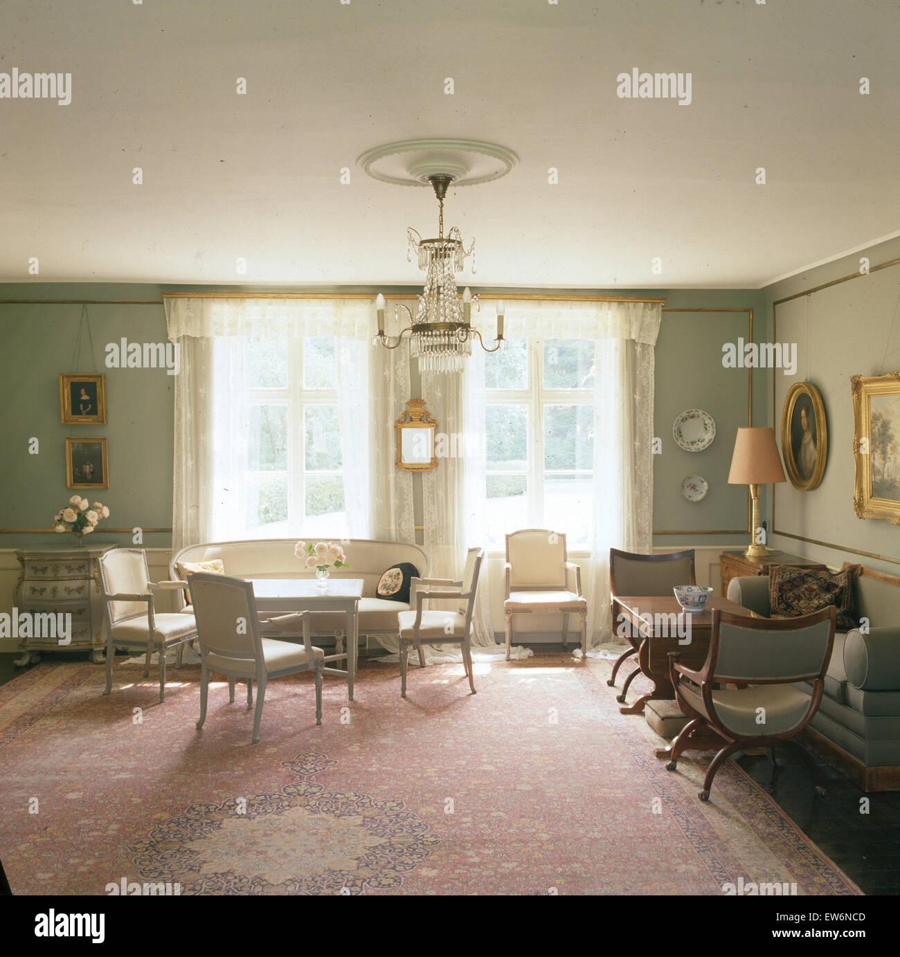 Tappeto Vintage in svedese elegante sala da pranzo e soggiorno Foto ...