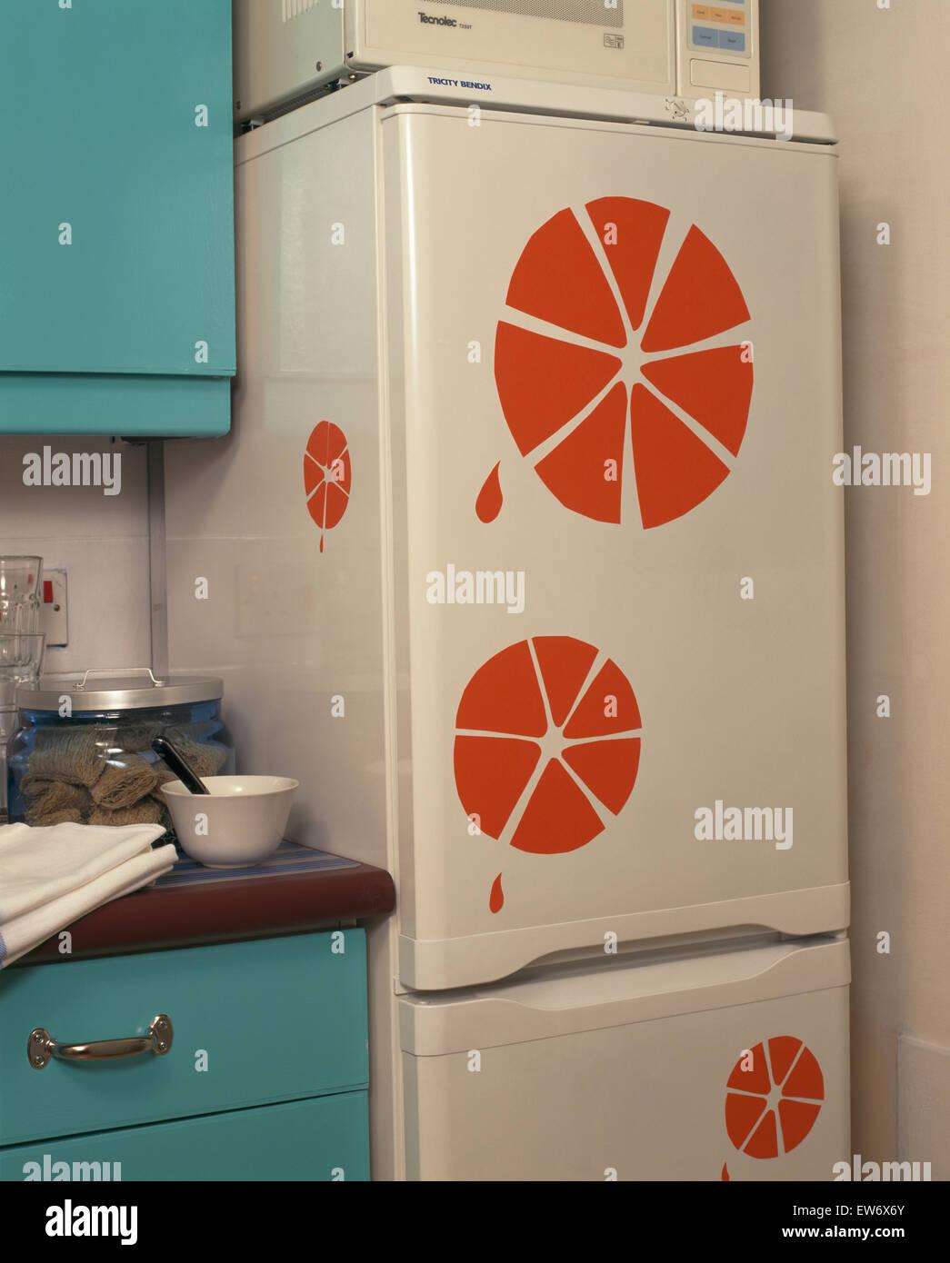 Freestanding frigo congelatore con mano decorazione stampata Foto ...
