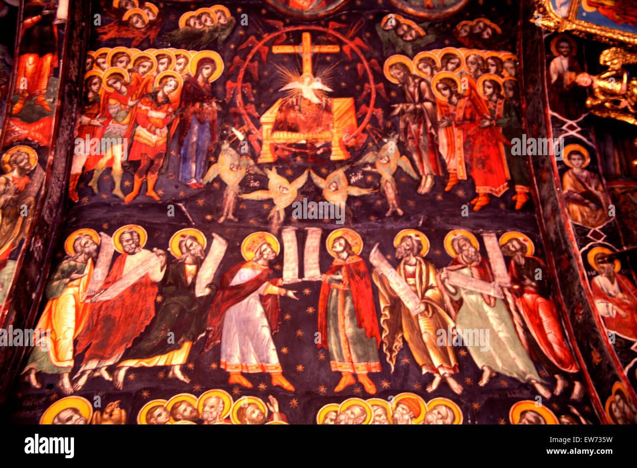 Arte che mostra la preparazione del trono nella cattedrale di San Giovanni, Nicosia Immagini Stock