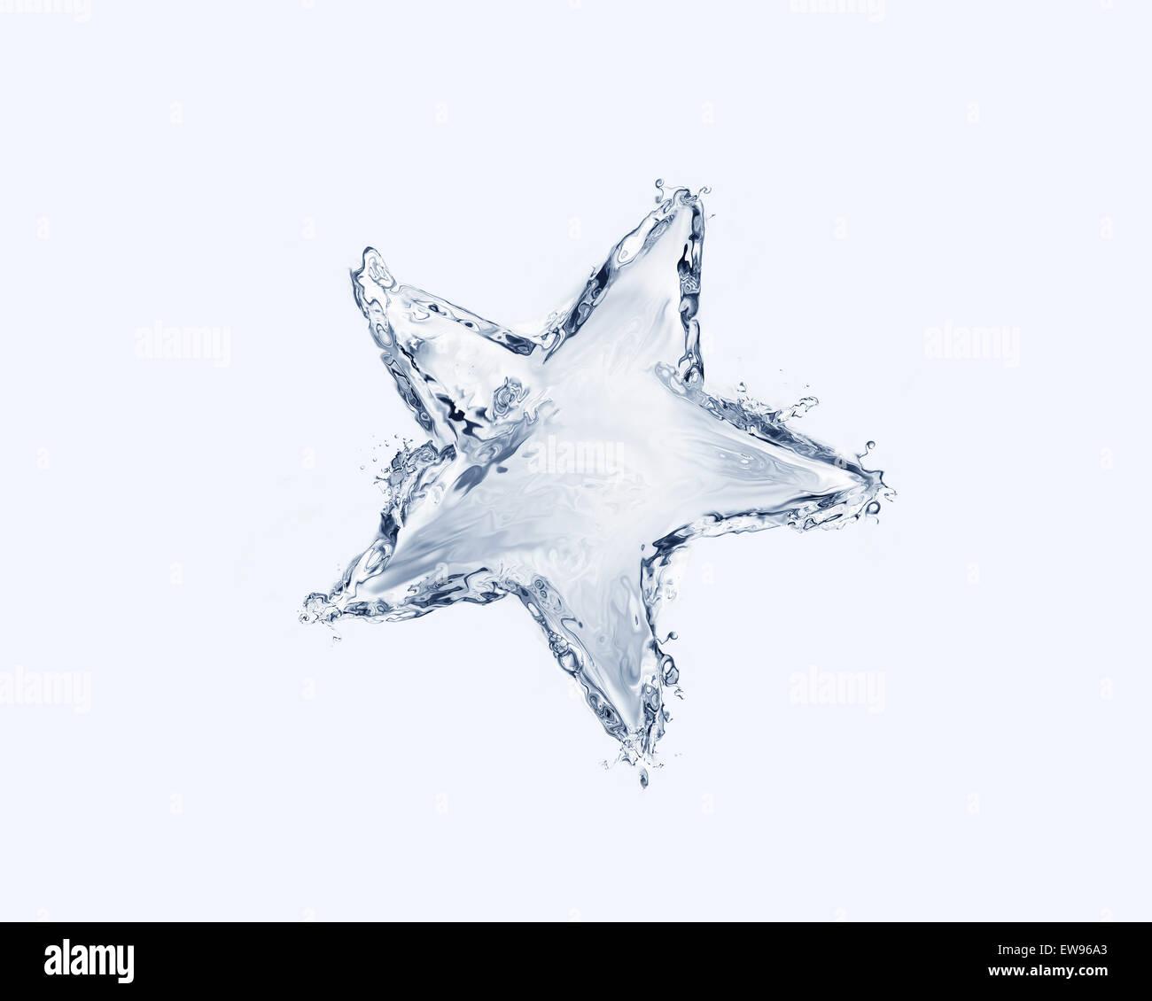 Una stella blu fatto di acqua. Immagini Stock