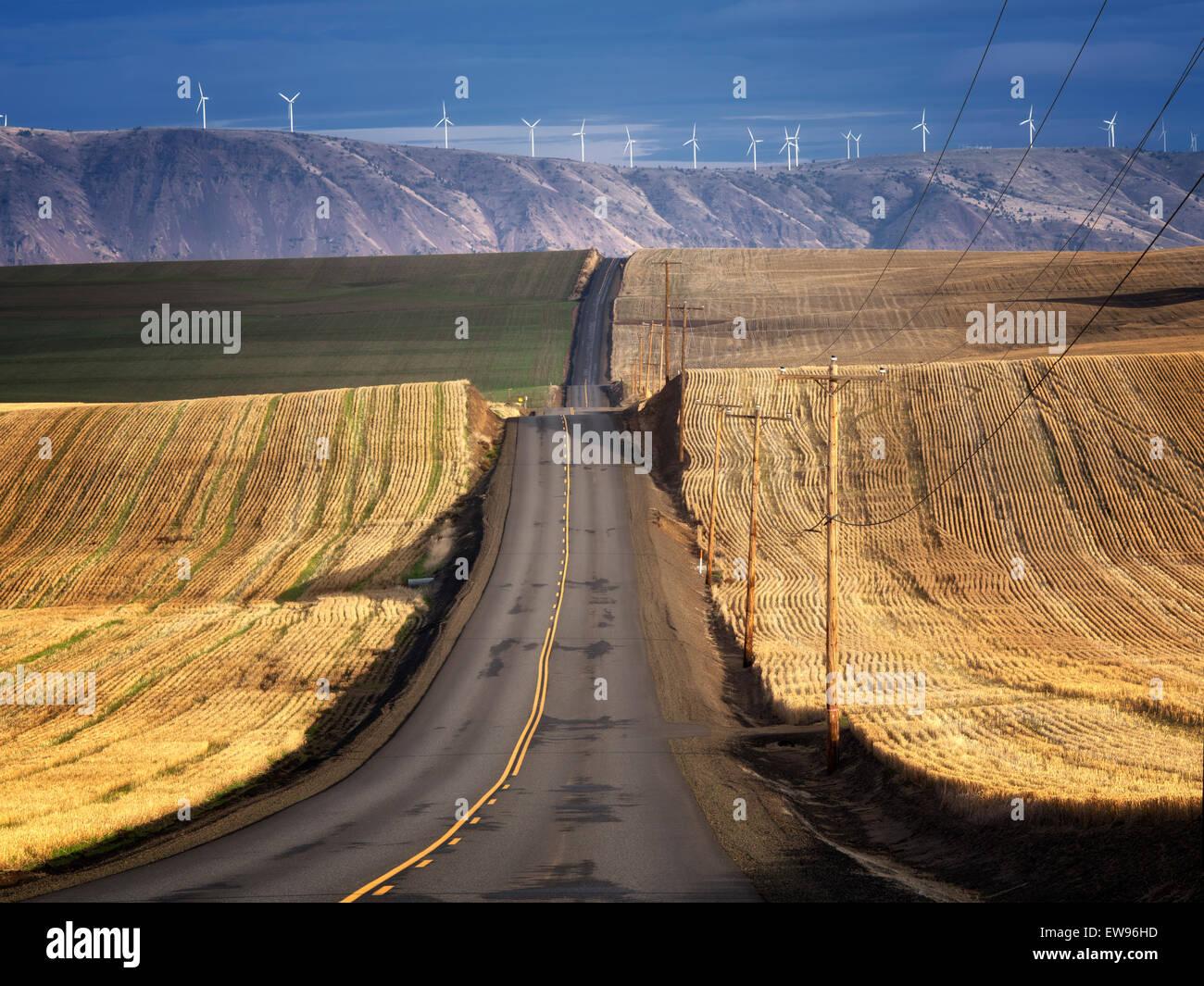 Backroad e delle turbine a vento in Sherman County vicino al Columbia River Gorge, Oregon Immagini Stock
