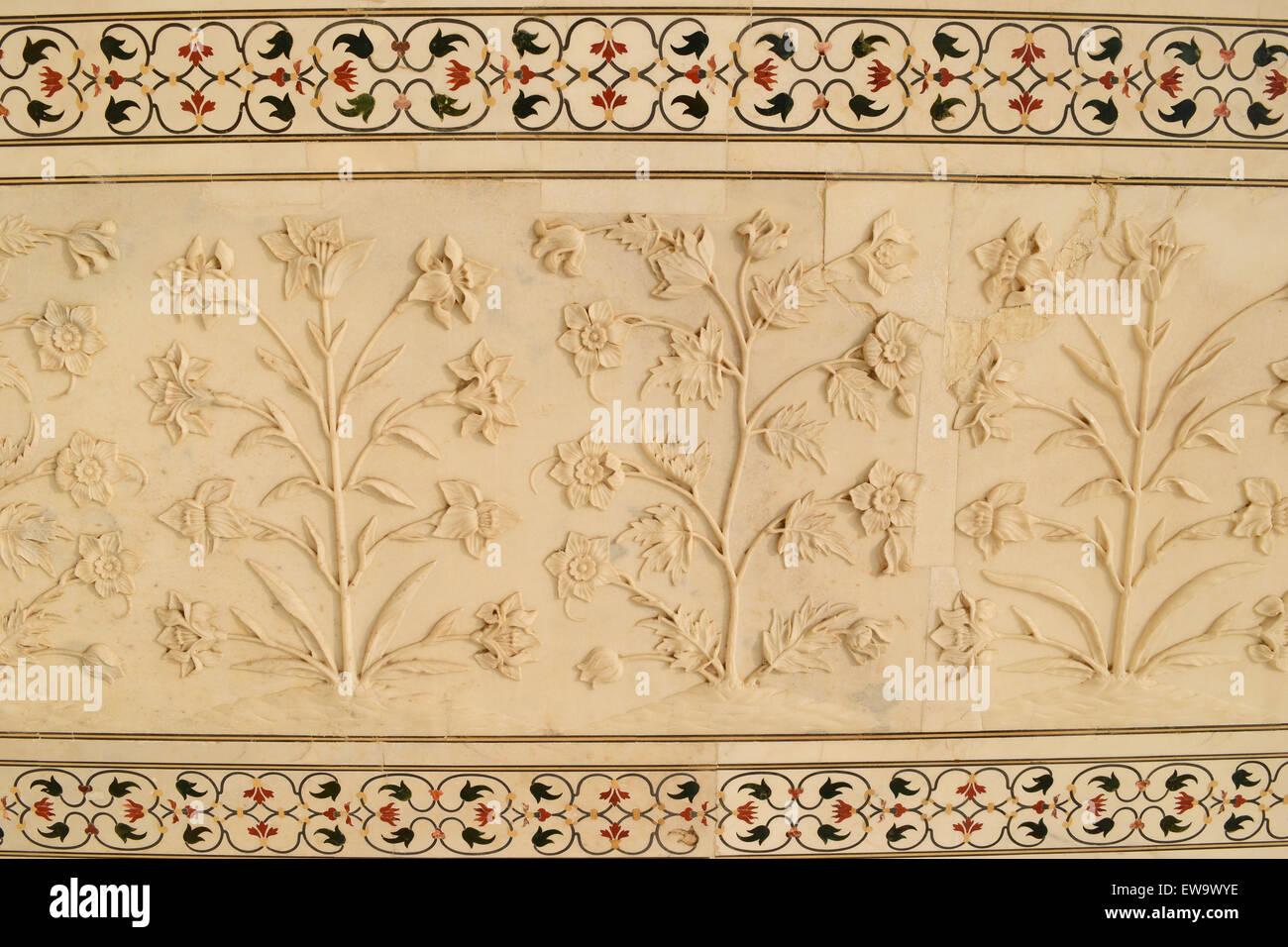 Taj mahal marmo arte fiori piante carving sul taj mahal piastrelle