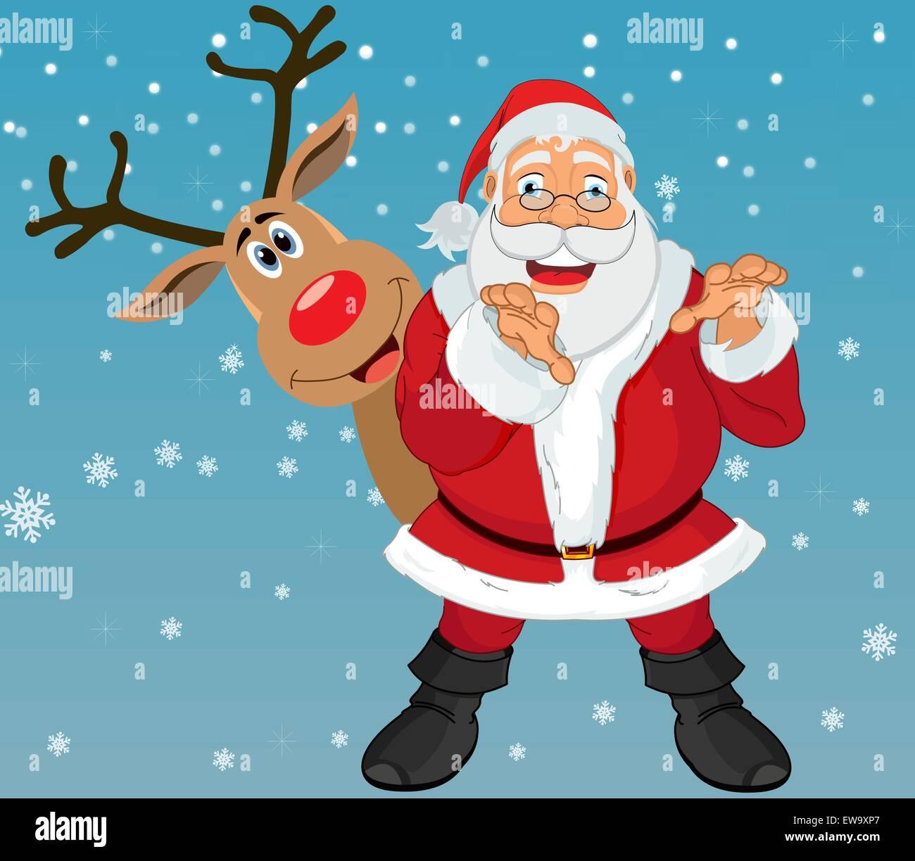 Rudolph La Renna Di Babbo Natale.Babbo Natale E Rudolph La Renna In Sfondo Blu Con I Fiocchi Di Neve