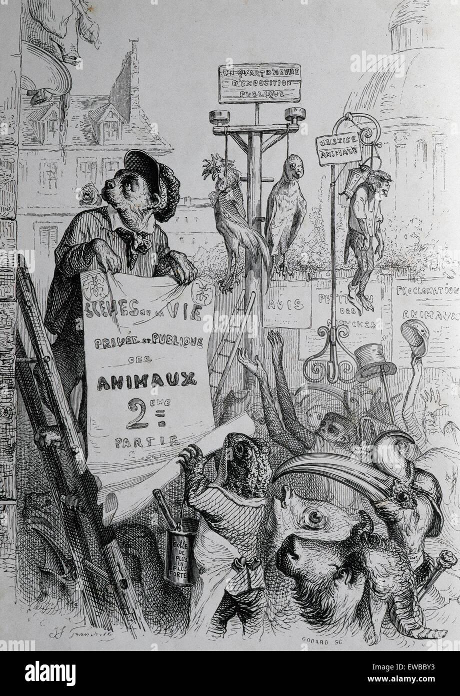 J.J. Grandville (pseudonimo di Jean Ignace Isidore Gerard) (1803-1847). Caricaturista francese. La vita privata Immagini Stock
