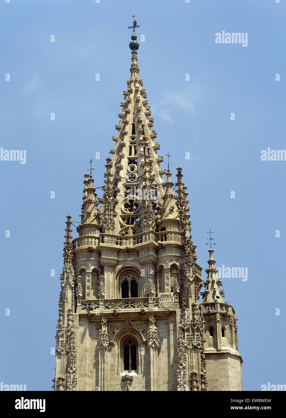 Spagna. Asturias. Oviedo. Cattedrale di San Salvador. La torre gotica. Dettaglio. Immagini Stock