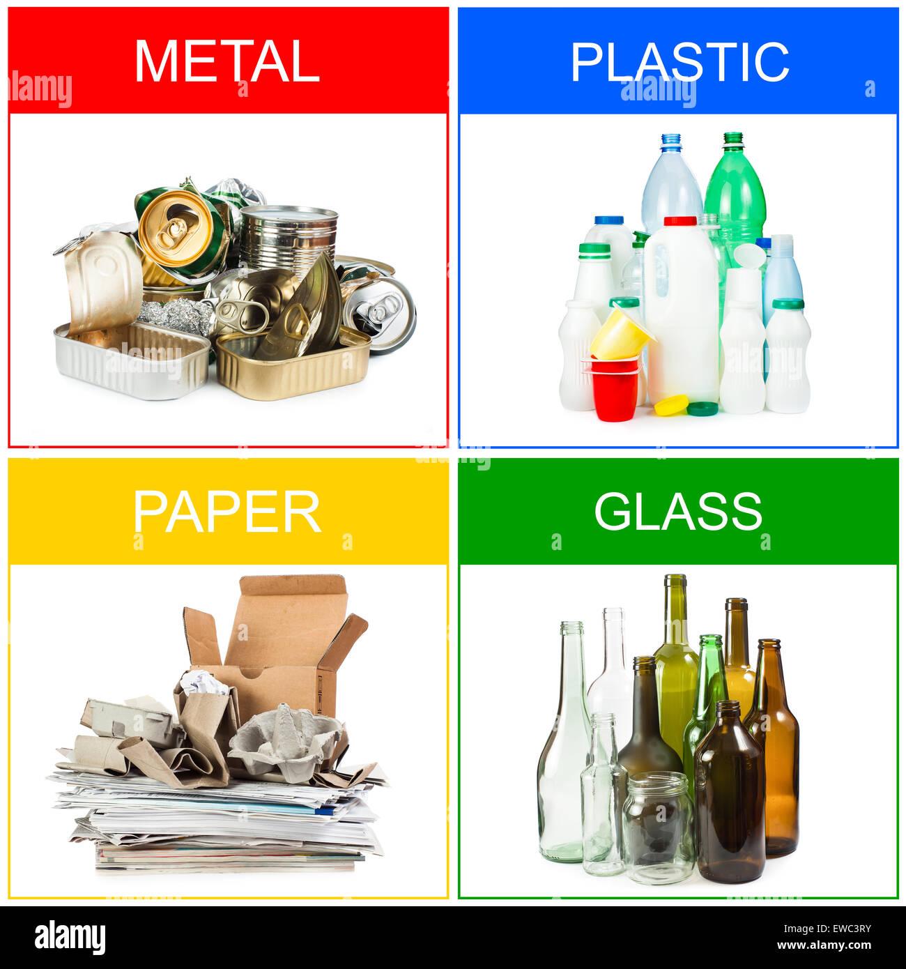 Una selezione dei rifiuti per il riciclaggio. Segregati in plastica, metallo, carta e vetro Immagini Stock