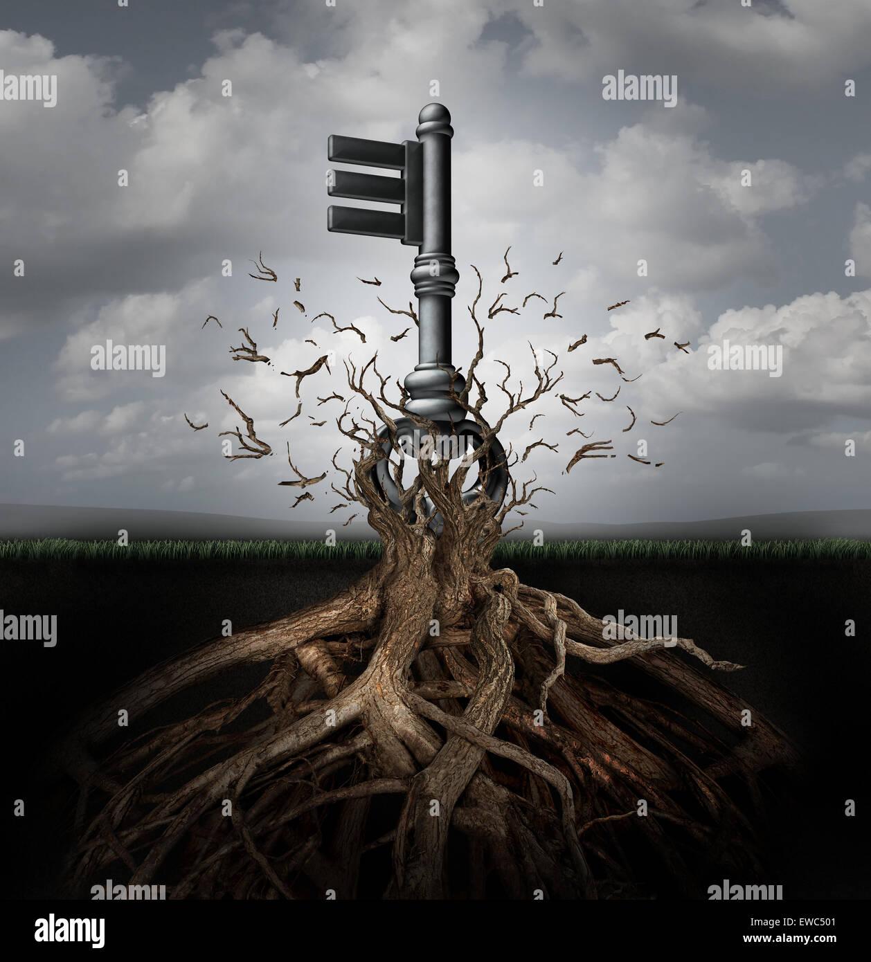 Concetto di soluzione come una vecchia chiave generica che emergono da un albero in un business come metafora per Immagini Stock