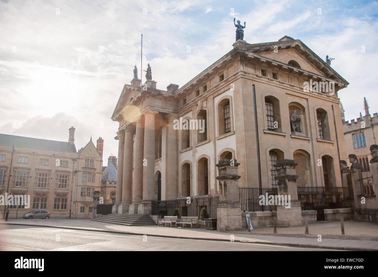 Vista la Bodleian Library (Clarendon Building), Oxford, Regno Unito Immagini Stock
