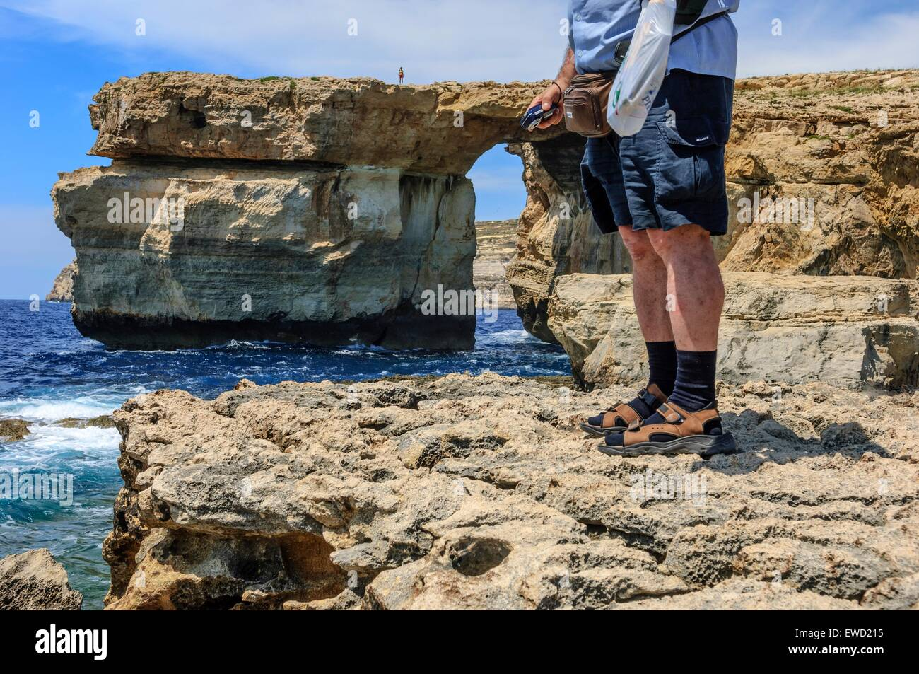 Azure Window, Dwejra Bay, isola di Gozo, Malta Foto Stock