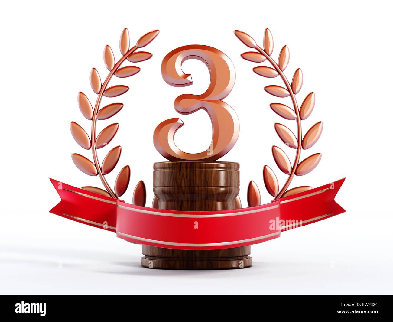 Il bronzo terzo primo premio Trofeo isolati su sfondo bianco Immagini Stock