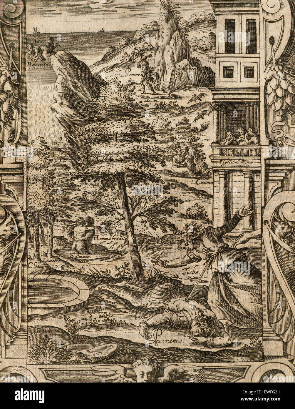 Ovidio (Publio ovidius naso) (43 BC-17 ad). poeta latino. metamorfosi 2-8 ad. libro iv. incisione raffigurante la morte di pyramus e Tisbe. Edizione italiana. Venezia, 1584. Foto Stock