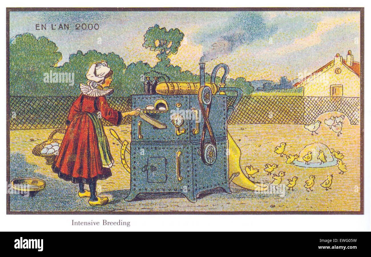 Vintage illustrazioni futuristico di Francia nel 2000 Immagini Stock