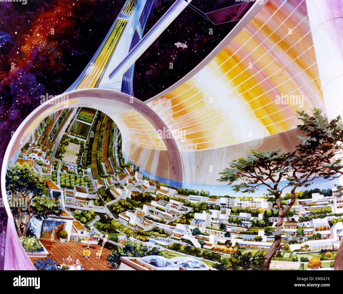 NASA Space Arte Colonizzazione spaziale colonia spaziale colonia spaziale Illustrazione illustrazione colonia spaziale Immagini Stock
