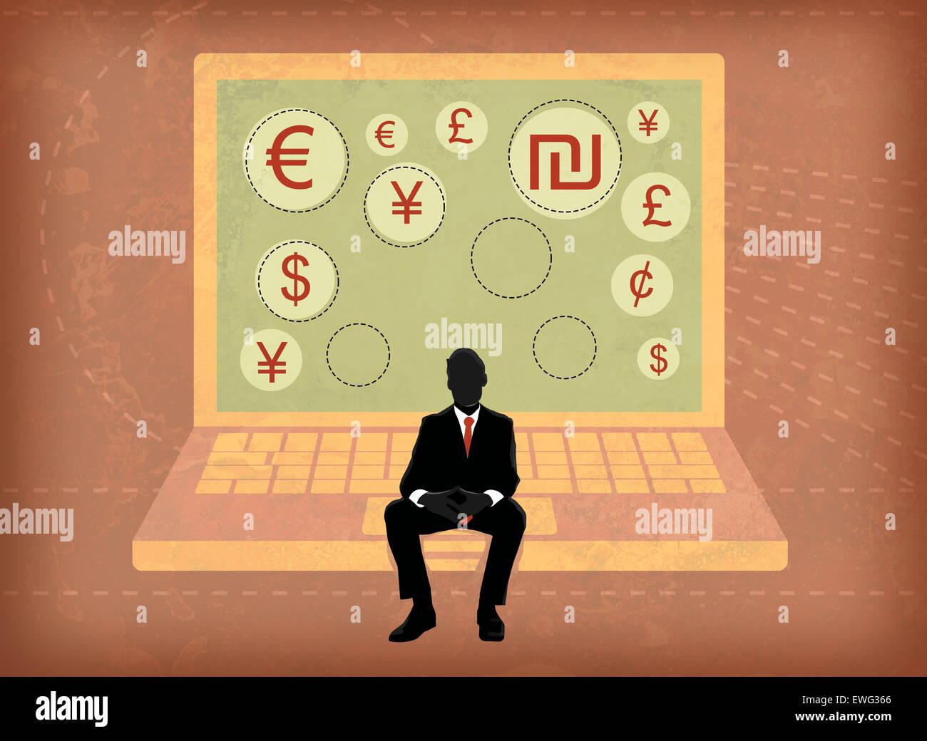 Imprenditore seduto su uno schermo del notebook che mostra global simboli di valuta Immagini Stock