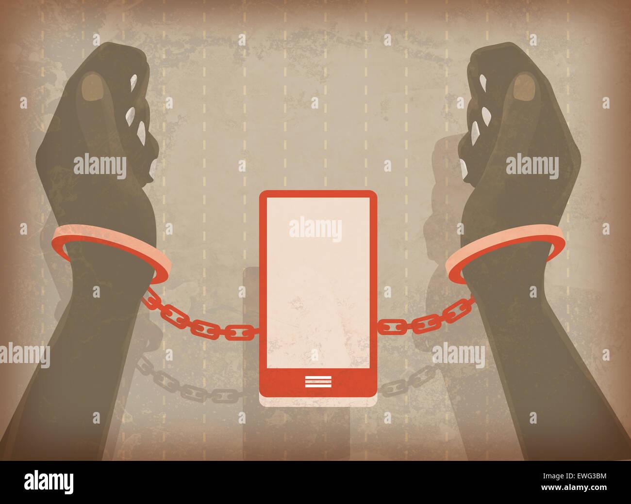 Illustrazione immagine di donna mani bloccato in manette con il telefono cellulare Immagini Stock
