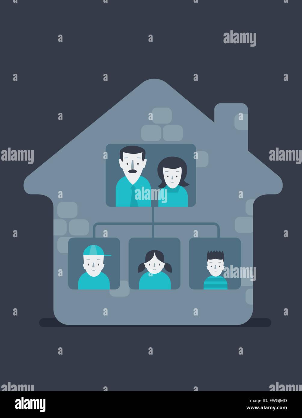 Ritratto di famiglia felice a casa Immagini Stock