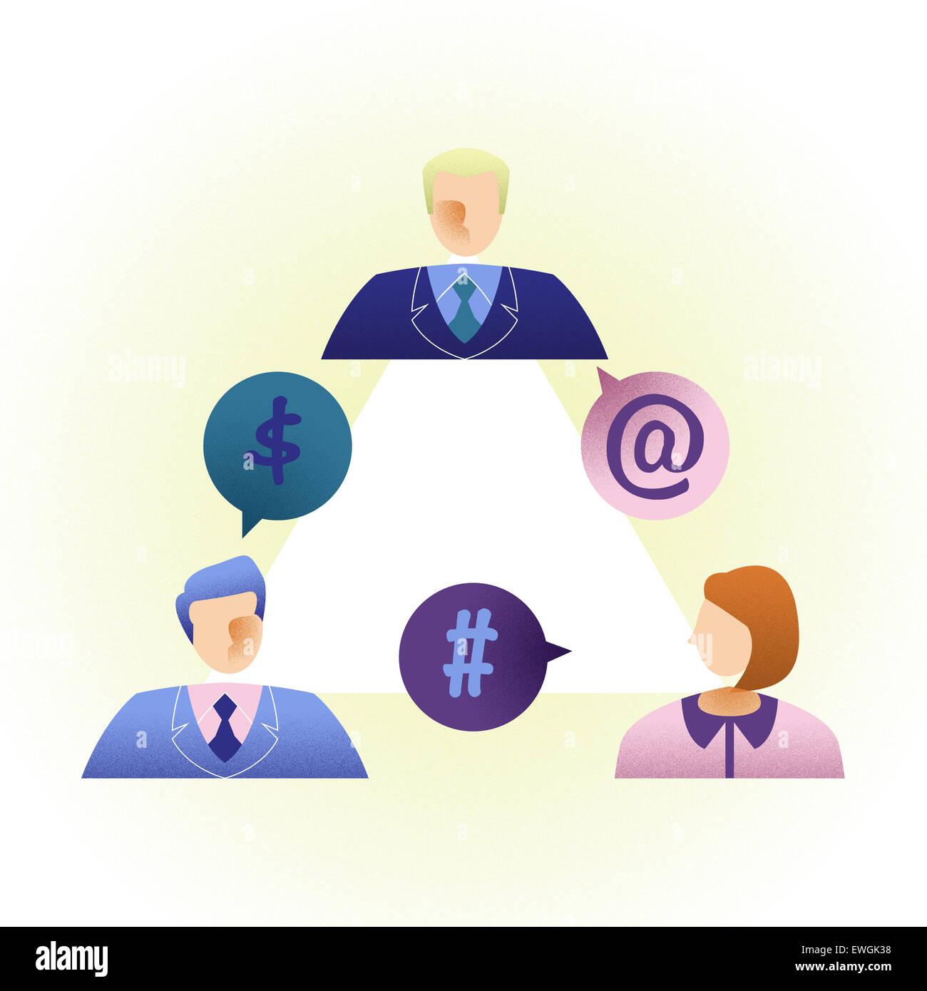 La gente di affari comunicare online Immagini Stock