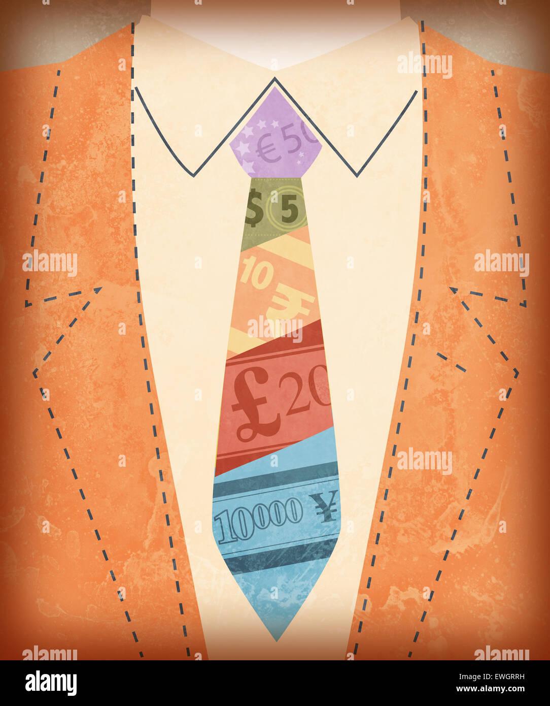 Sezione mediana vista dell uomo d affari internazionale con i simboli di valuta sul tirante Immagini Stock