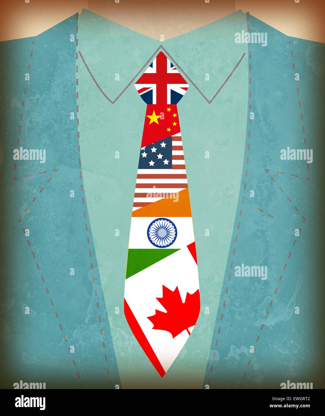 Sezione mediana vista dell uomo d affari internazionale con la bandiera i simboli sul tirante Immagini Stock
