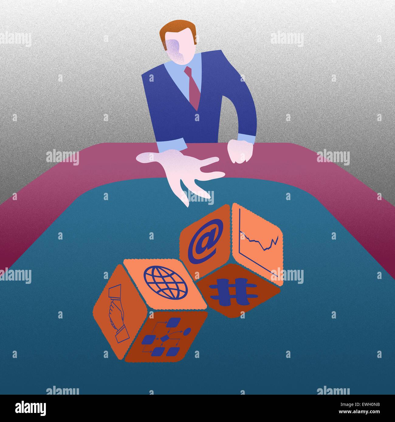 Business gettando dadi cercando la sua fortuna Immagini Stock