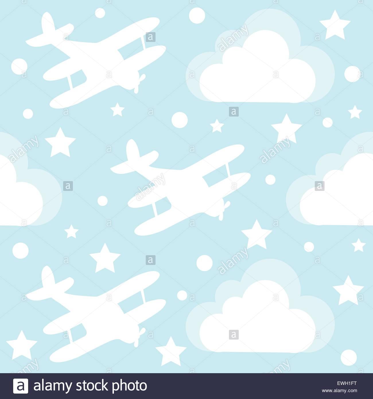 Baby boy seamless pattern con cartoon aeroplano giocattolo e nuvole