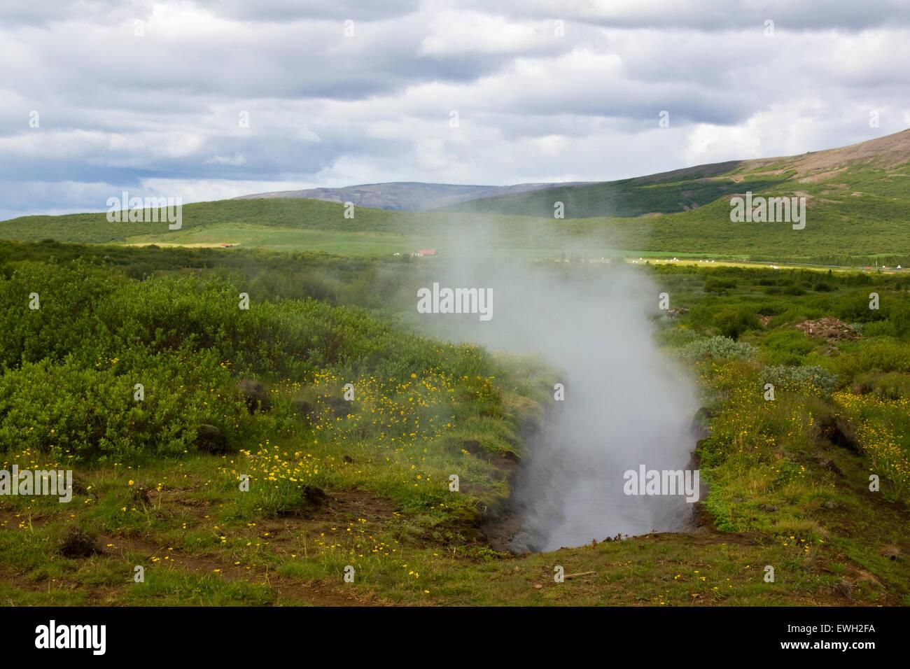 Primavera calda nel sud-ovest dell'Islanda Immagini Stock