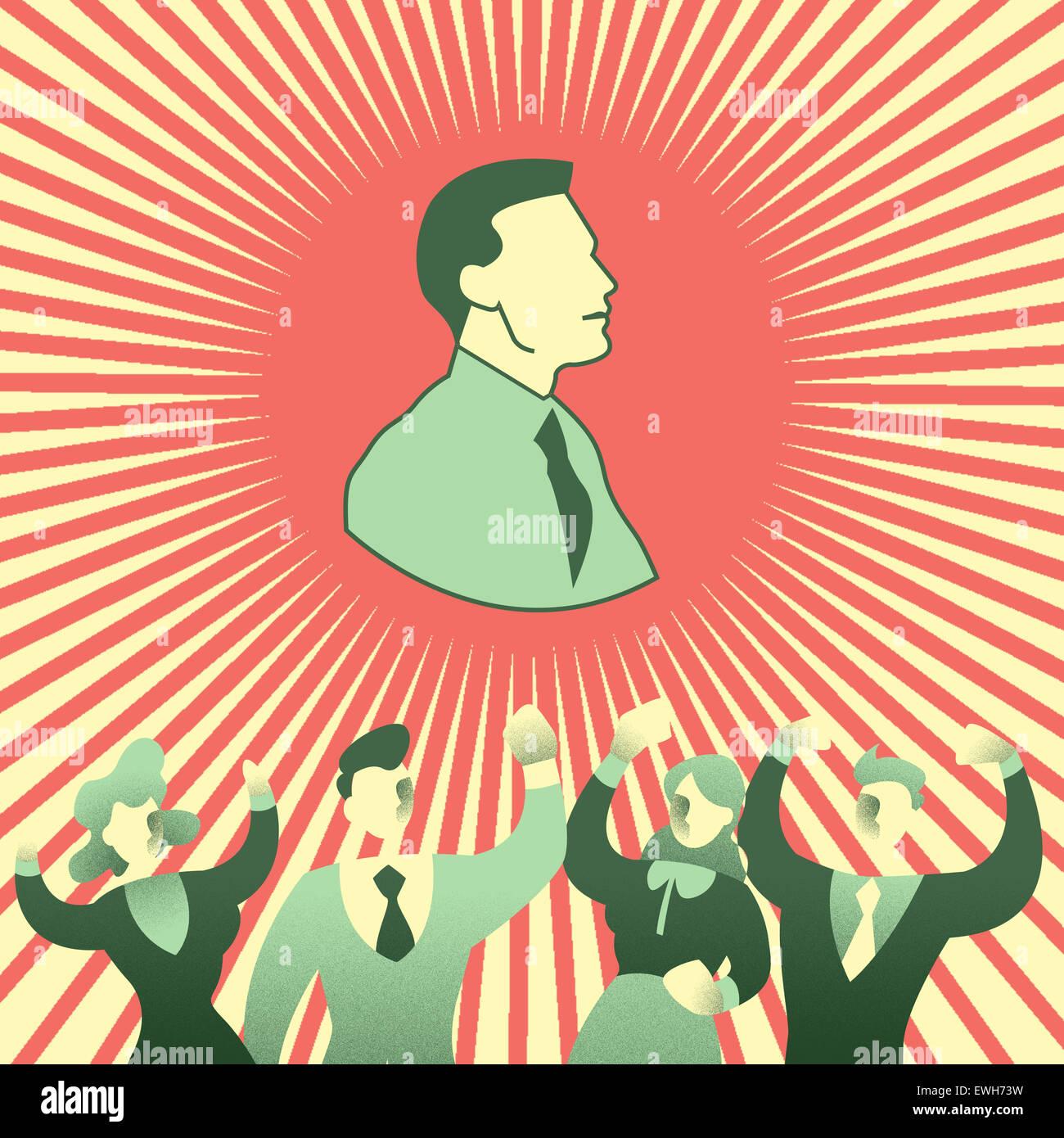 Collega applaudire il business leader per il successo Immagini Stock