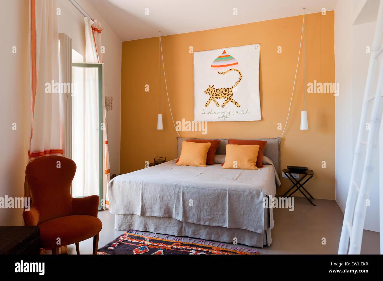 Colore Arancione Pareti Camera Da Letto.Xix Secolo Cattedra Italiana In Camera Da Letto Con Parete Di Colore