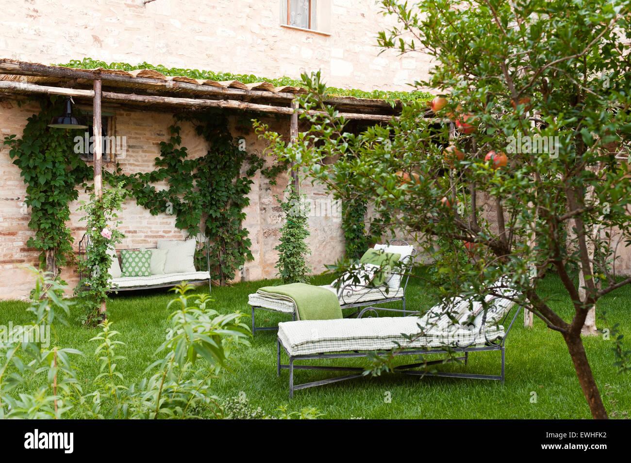 Lettini Per Prendere Il Sole In Giardino Con Alberi Di Arancio Foto