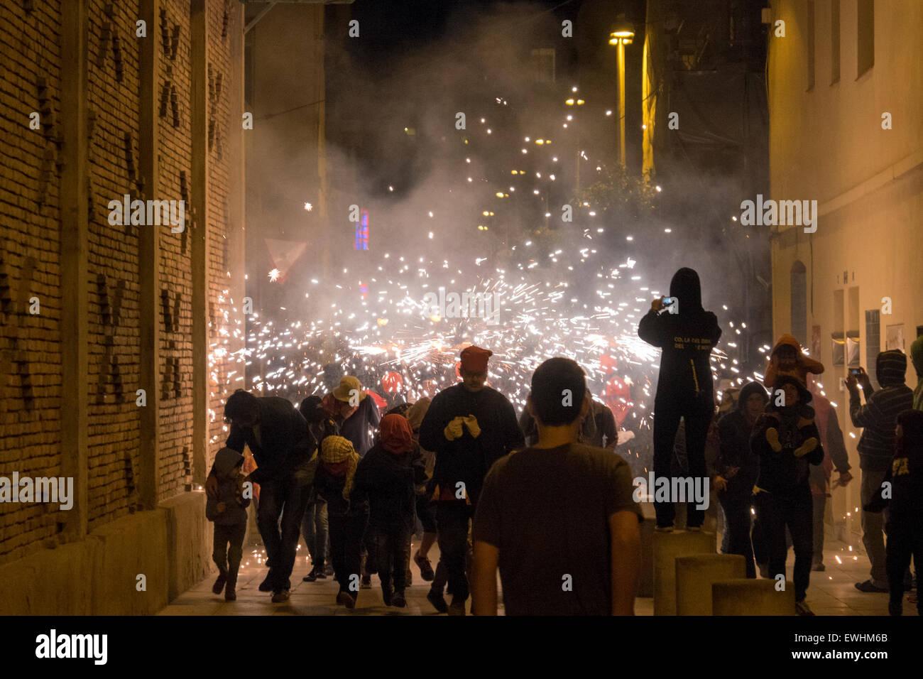 Europa, Spagna, Barcellona, fuochi d'artificio, partito popolare, poblenou Immagini Stock